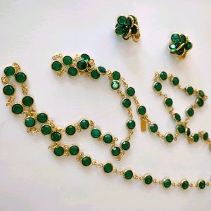 Swarovski green crystal necklace and earrings